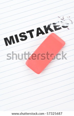 eraser and word mistakes, concept of Making Changing