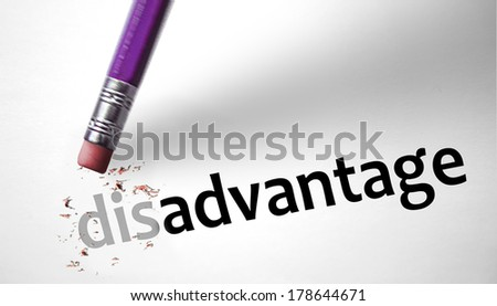 Eraser changing the word Disadvantage for Advantage  - stock photo