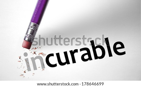 Eraser changing the word Incurable for Curable  - stock photo