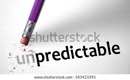 Eraser changing the word Unpredictable for Predictable - stock photo