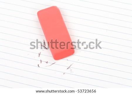 Eraser close up shot, concept of making change - stock photo
