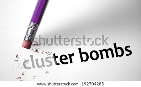 Eraser deleting the concept Cluster Bombs - stock photo