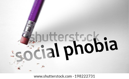 Eraser deleting the concept Social Phobia - stock photo