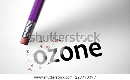 Eraser deleting the word Ozone - stock photo