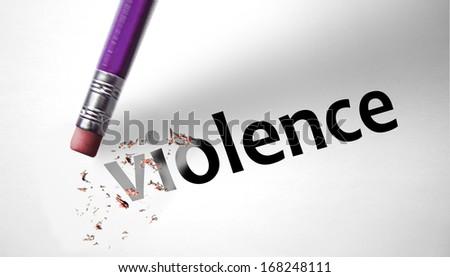 Eraser deleting the word Violence