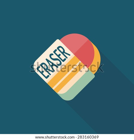Eraser flat icon with long shadow - stock photo