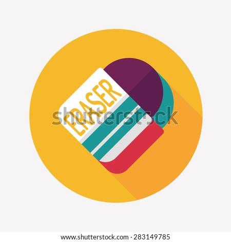 Eraser flat icon with long shadowEraser flat icon with long shadow - stock photo