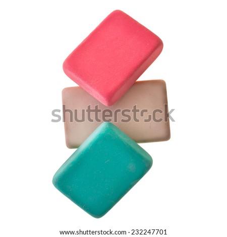 Erasers isolated on white background - stock photo