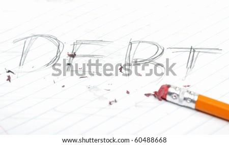 Erasing Debt - stock photo