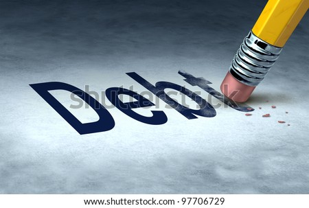 Erasing debt concept with a pencil and eraser eliminating the icon for owing money in credit cards or car payments and mortgages and managing a solution out of bankruptcy and into financial success. - stock photo