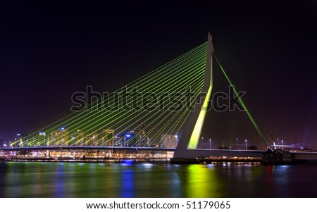 Erasmus bridge at night - stock photo