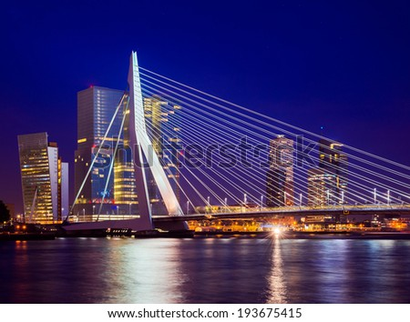 Erasmus Bridge During Blue Hour, Rotterdam, The Netherlands - stock photo