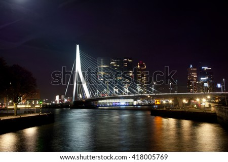 Erasmus bridge over the river Meuse in Rotterdam, the Netherlands - 25.october 2015