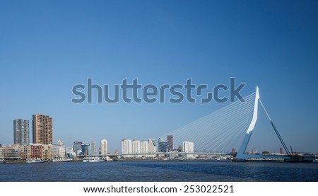 Erasmus bridge Rotterdam Holland - stock photo