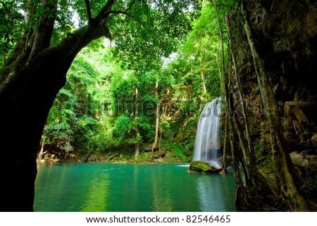 Eravan Waterfall in Thailand - stock photo