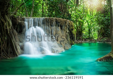 Erawan waterfall in deep forest of national park, Thailand