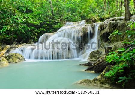 Erawan waterfall in Kanchaburi, Thailand - stock photo