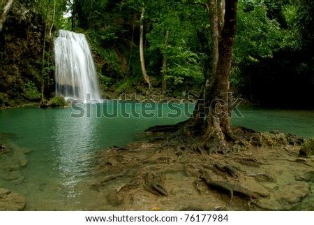 Erawan waterfall in Kanchanaburi city, Thailand. - stock photo