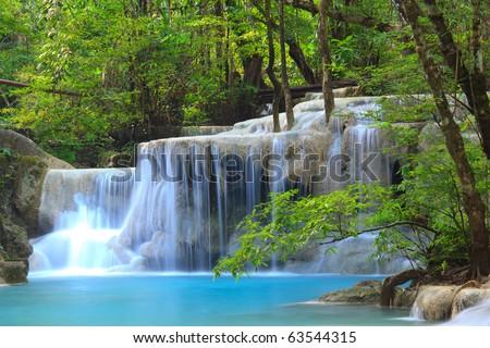 Erawan Waterfall in Kanchanaburi, Thailand - stock photo