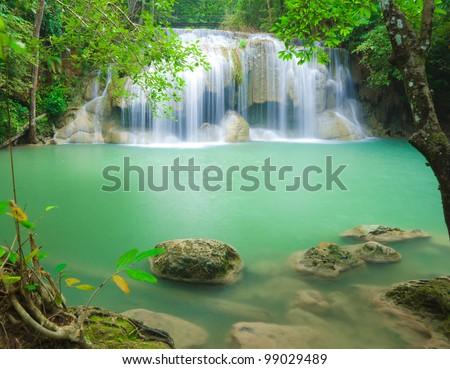 Erawan waterfall in Kanjanaburi Thailand - stock photo