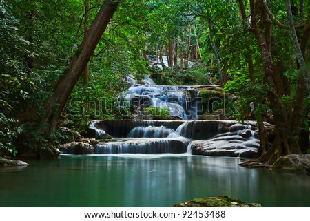Erawan Waterfall in thailand - stock photo