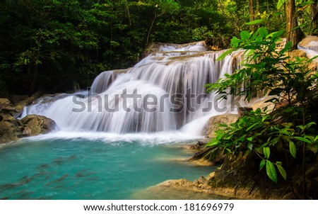 Erawan Waterfall, Kanchanaburi Province, Thailand The major attraction of the park is Erawan Falls, a waterfall named after the erawan, the three-headed white elephant of Hindu mythology.