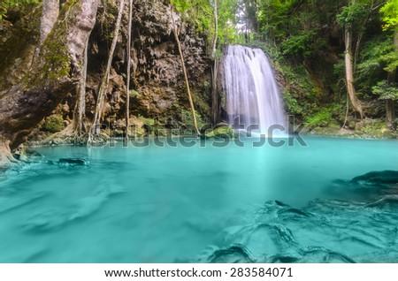Erawan Waterfall level 3, Kanchanaburi Province, Thailand - stock photo