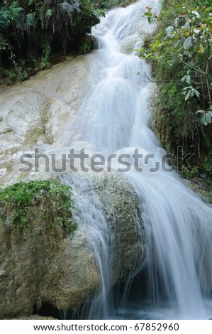 Erawan Waterfall level 7, Kanchanaburi province, Thailand - stock photo