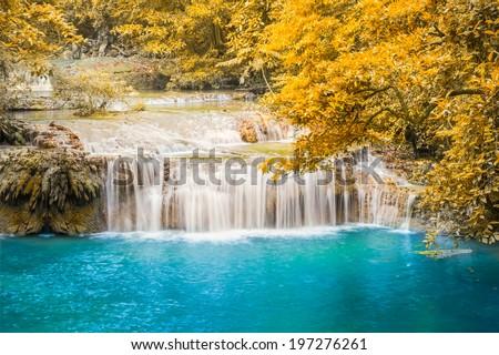 Erawan waterfall 3nd level, attraction of Kanjanaburi province in Thailand. - stock photo