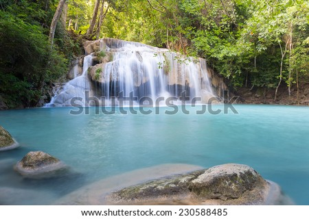 Erawan waterfall 2nd level, attraction of Kanjanaburi province in Thailand.