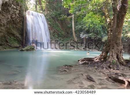 Erawan Waterfall 3rd level, Erawan National Park in Kanchanaburi, Thailand