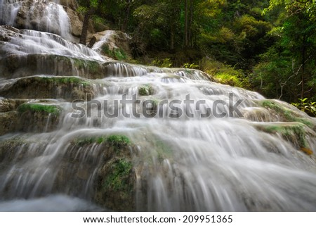 Erawan waterfall, Thailand - stock photo