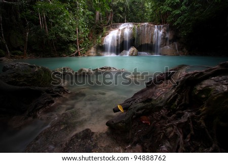 Erawan Waterfall 1, Thailand - stock photo