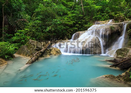 Erawan Waterfalls National Park in Kanchanaburi , Thailand