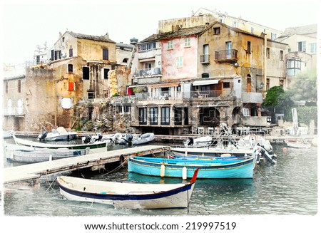 Erbalunga - small  old fishing village in Corsica, artwork in pa - stock photo