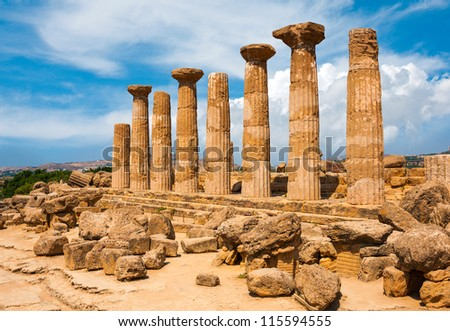 Ercole temple with dramatic sky in the Valley of the Temples, Agrigento, Sicily island, Italy - stock photo