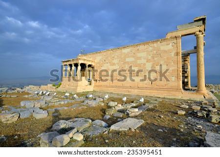 Erechteion, Parthenon on the Acropolis in Athens, Greece - stock photo