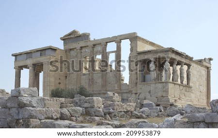 Erechtheion -an ancient Greek temple in Acropolis of Athens