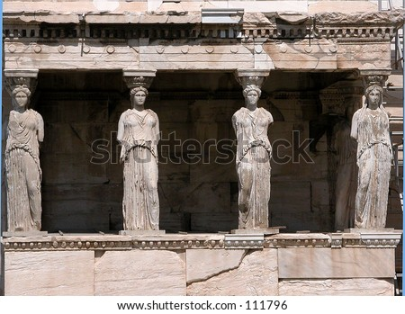 Erechtheion at Acropolis Athens - stock photo