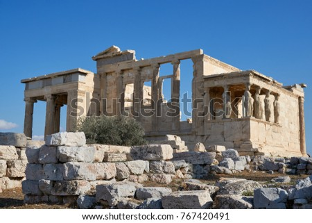 Erechtheion is an ancient Greek temple on the north side of the Acropolis of Athens in Greece which was dedicated to both Athena and Poseidon.