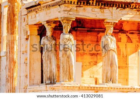 Erechtheion or Erechtheum, A Greek temple dedicated to both Athena and Poseidon. Acropolis of Athens. UNESCO World Hetiage site. - stock photo