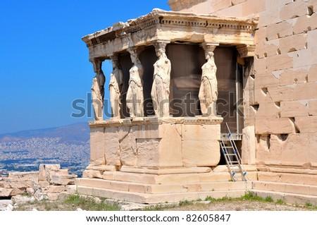 Erechtheion - part of Acropolis in Athens - stock photo