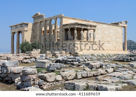 Erechtheion. portico of the Caryatids - a miracle in Athens, Greece
