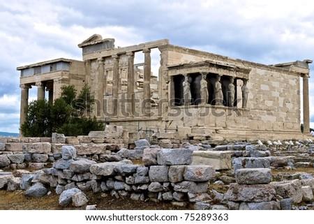Erechtheum at the Acropolis of Athens - stock photo