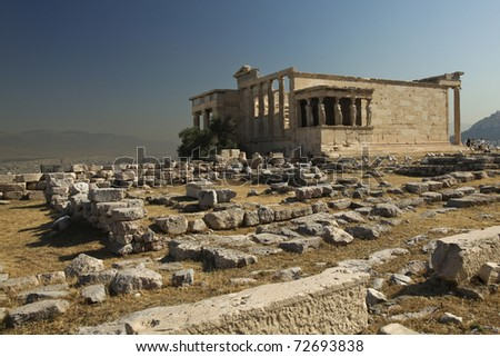 Erechtheum statues around Acropolis in Athens Greece