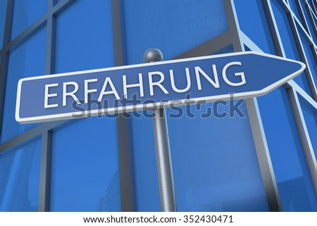 Erfahrung - german word for experience - illustration with street sign in front of office building.