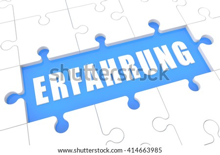 Erfahrung - german word for experience - puzzle 3d render illustration with word on blue background - stock photo