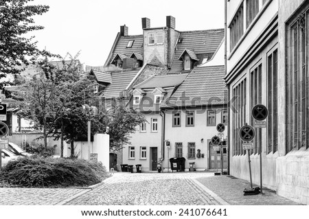 ERFURT, GERMANY  - JUN 16, 2014: Architecture at the Wenigenmarkt Square of the city of Erfurt, Germany. Erfurt is the Capital of Thuringia and the city was first mentioned in 742