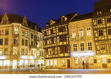 ERFURT, THURINGIA/GERMANY - JANUARY 5, 2015: People on the streets of Erfurt in Germany in the evening.