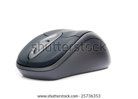 ergonomic wireless computer mouse; shallow depth of field; focus set on wheel